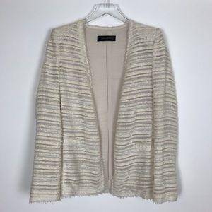 Zara Open Front Tweed Boucle Blazer Jacket Small